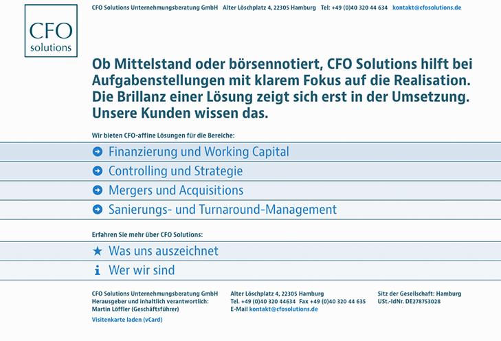 Bildschirmfoto von CFOSolutions.de